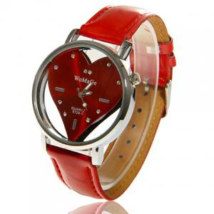 Exquisite Womage PU Leather Quartz Wrist Watch 9729-1 - Red