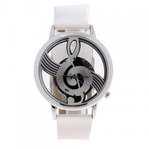 Fashionable Bolun Dots Hour Marks Leather Quartz Wrist Watch with Music Symbol Patterned for Female B636 (White) -