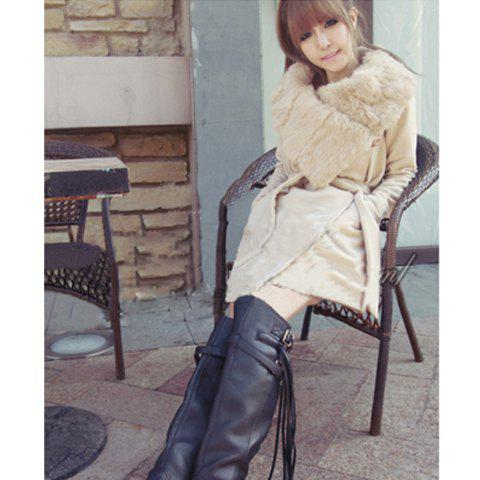 Sale Warmly and Slim Lapel Light Camel Long Sleeves Lamb Wool+Pu Coat For Women