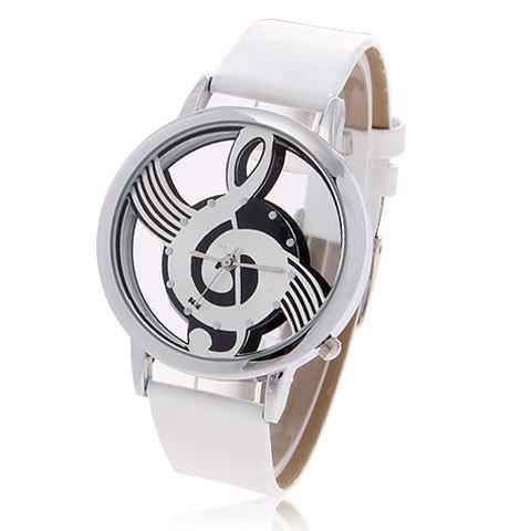Online Fashionable Bolun Dots Hour Marks Leather Quartz Wrist Watch with Music Symbol Patterned for Female B636 (White)
