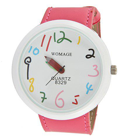 Latest Exquisite WoMaGe Leather Wrist Watch with Numeral Hour Marks & White Dial for Female 8329 (Hot Pink)