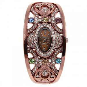 Brsok 8037 Women Bracelet Wrist Watch with Rhinestone -