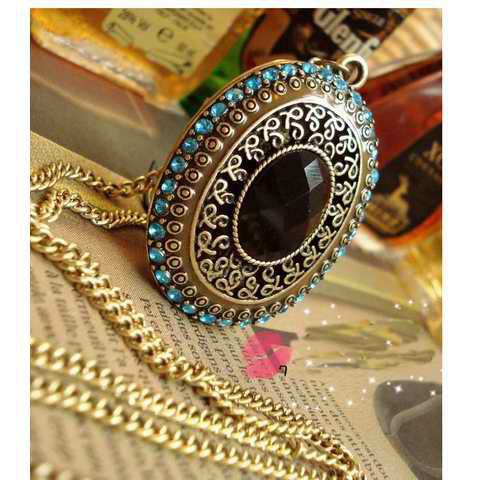 Discount Vintage Style Rhinestone Embellished Long Pattern Necklace