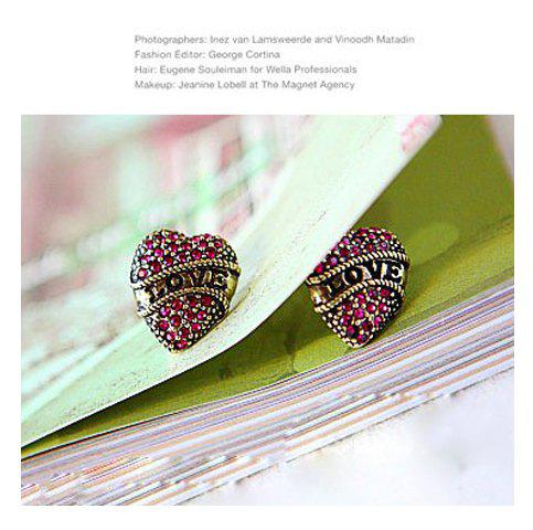 Fancy Love Topic Vintage Style Heart Shape Rhinestone Earring