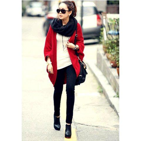 Fashion Stylish Collarless Batwing Sleeve Pure Color Loose-Fitting Women's Coat