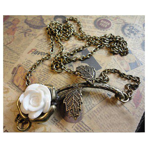 Affordable Retro Style White Rose Long Pattern Necklace