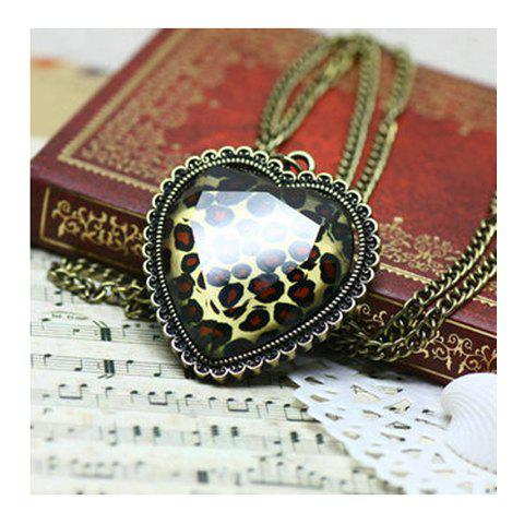 Cheap Retro and Unique Style Loving Heart Shape and Leopard Pattern Decorated Necklace -   Mobile