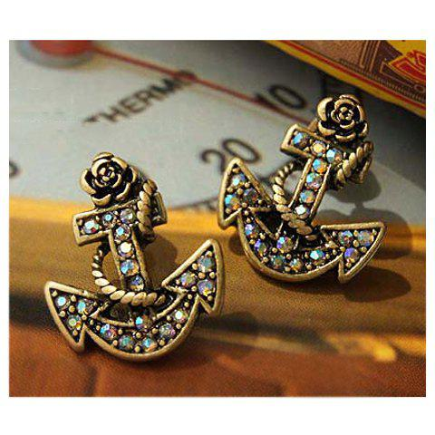 Store Retro and Chic Style Anchor Pattern and Faux Jewels Decorated Earrings