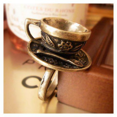 Trendy Retro and Unique Style Coffee Cup Decorated Finger Ring