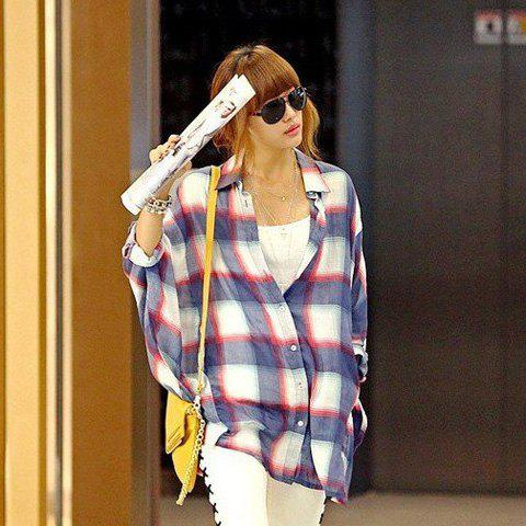 Fancy Korea Style Lapel Special Grid Red Bat-Wing Quarter Sleeves Cotton Shirt For Women