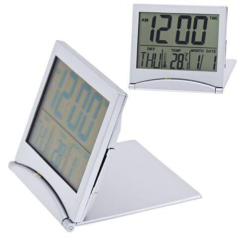 Store Fashionable Multi-Function Display Desk Alarm Clock MT033 (Silver)