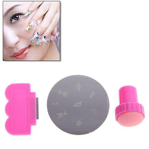 Fancy Fun and Easy Nail Art Stamping with Scraping Knife and Image Plate - DEEP PINK  Mobile