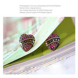 Love Topic Vintage Style Heart Shape Rhinestone Earring