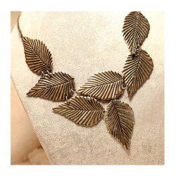Stylish Retro Patterns Leaf Shape Necklace -