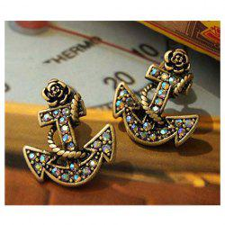 Retro and Chic Style Anchor Pattern and Faux Jewels Decorated Earrings -