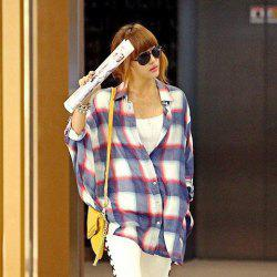 Korea Style Lapel Special Grid Red Bat-Wing Quarter Sleeves Cotton Shirt For Women -