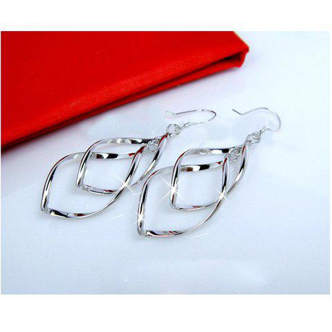 Bicyclo-Wave Design EarringsJEWELRY<br><br>Earring Type: Drop Earrings; Gender: For Women; Metal Type: Alloy; Style: Trendy; Shape/Pattern: Plant; Weight: 0.028kg; Package Contents: 1 x Earrings (Pair);