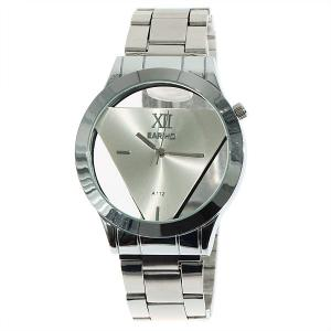 Fashionable Bariho Triangle Shaped Dial Stainless Steel Wrist Watch with Black Dial for Men A112 (Silver) -