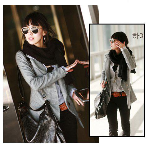 Discount Korea Fashion Exquisite Workmanship Fit Tailored Medium Style Woollen Coat GRAY L