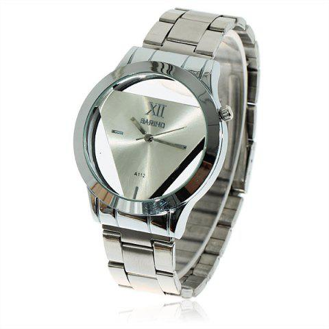 Fashion Fashionable Bariho Triangle Shaped Dial Stainless Steel Wrist Watch with Black Dial for Men A112 (Silver)