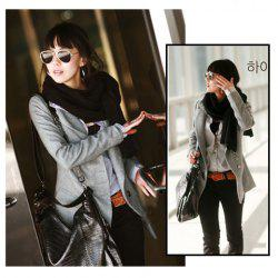Korea Fashion Exquisite Workmanship Fit Tailored Medium Style Woollen Coat -