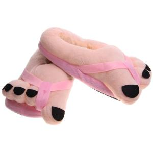 Soft Plush Big Feet Pattern Novelty Slippers -