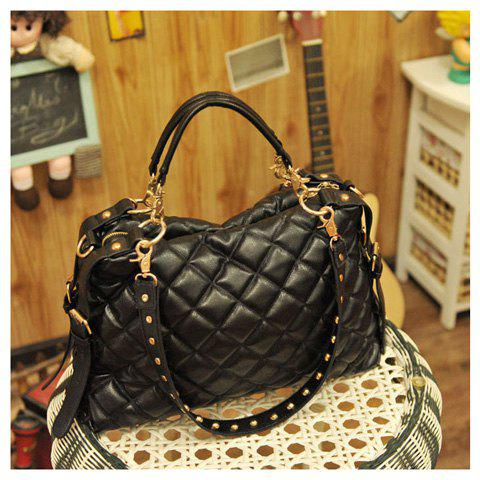 Trendy Stylish Rhombus Embossing Embellished and Zipper Design Handbag/One-Shoulder Bag For Female - BLACK  Mobile