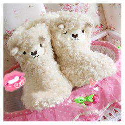 Winter Essential Lovely Cartoon Lamb Patterns Warmly and Comfortable High-Top Slippers For Women -