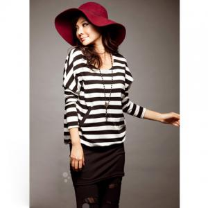 Stylish Stripes Patterns Bat Sleeve Colormatching Dress For Women - Black - S