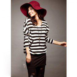 Stylish Stripes Patterns Bat Sleeve Colormatching Dress For Women -