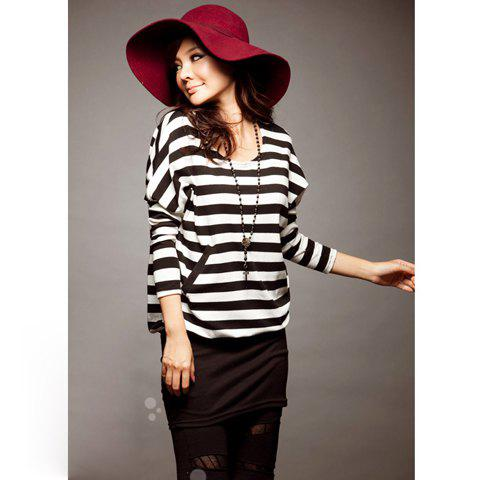 Unique Stylish Stripes Patterns Bat Sleeve Colormatching Dress For Women