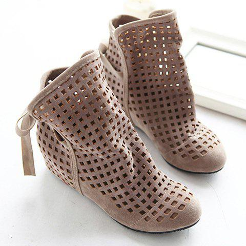 Buy Special Offer Fashion Casual Openwork Lacing Round Head Design Women's Boots - Beige 38