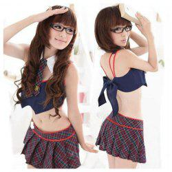 Sweet British Style Check Pattern Back Tie Top + Pleated Mini Skirt Student Uniform Costume Set For Female -