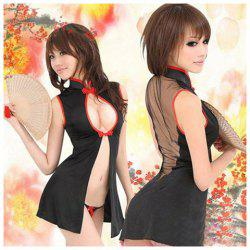 Charming and Sexy Breast Open-Work Frog Design Sleeveless Cheongsam Costume Set For Female - BLACK
