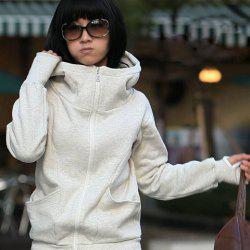 Fashion and Warm Front Zipper Long Sleeves Hooded Jacket For Women -