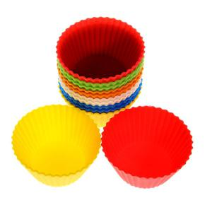 12PCS Colorful Silicone Muffins Cup Cake Model -