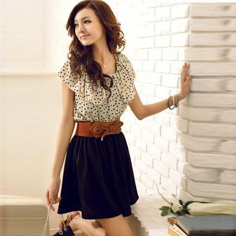 Affordable Korean Women Summer New Fashion Short-sleeve Dots Polka Waist Dress