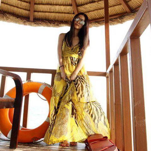 Outfits Spaghetti Strap Flowy Summer Maxi Dress YELLOW FREE SIZE