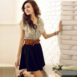 Korean Women Summer New Fashion Short-sleeve Dots Polka Waist Dress -