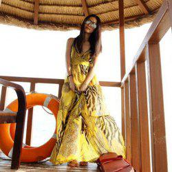 Spaghetti Strap Flowy Summer Maxi Dress - YELLOW
