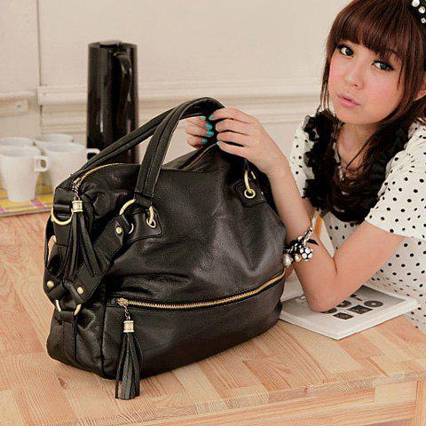 Outfits New Arrival Rivet Embellished Black Big Bag For Women - BLACK  Mobile