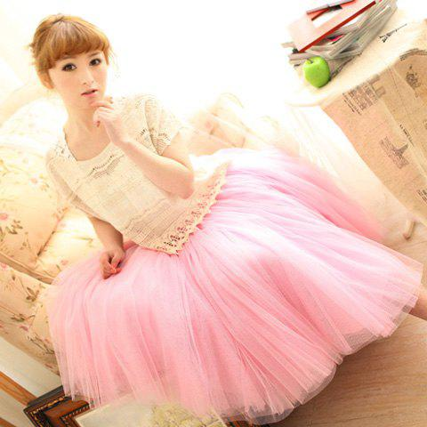 Store Elastic Waist Puff Five Layers Tulle Skirt