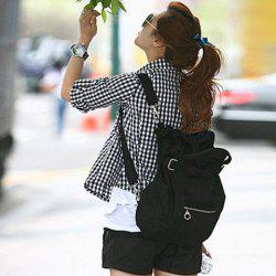 Street Style Stylish Buckle Embellished Multi Way Black Canvas Backpack For Women - BLACK