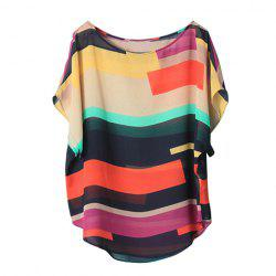 Chiffon Stripe Mutli-Color Bat Sleeve Flowy Blouse - COLORMIX