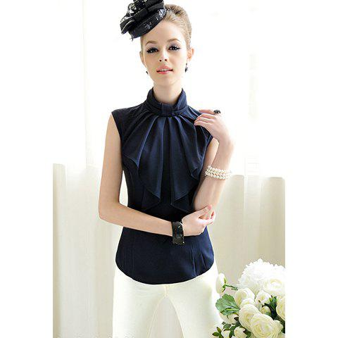 Outfits Elegant Butterfly Collar Solid Color Sleeveless Shirt For Women