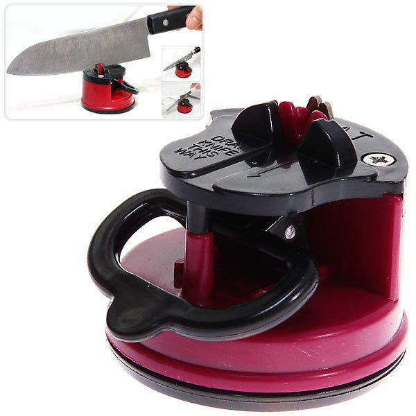 Compact Knife Sharpener with Non-slip Suction Pad Kitchen SuppliesHOME<br><br>Color: RED; Type: Practical; For: Adults; Occasion: Home; Material: Metal; Color: White,Red;