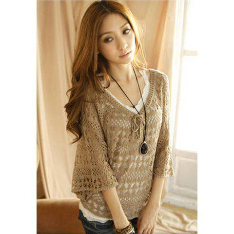 Buy Women's Cotton Thread Fashionable Cardigan With String Openwork Dolman Sleeves V-Neck Design