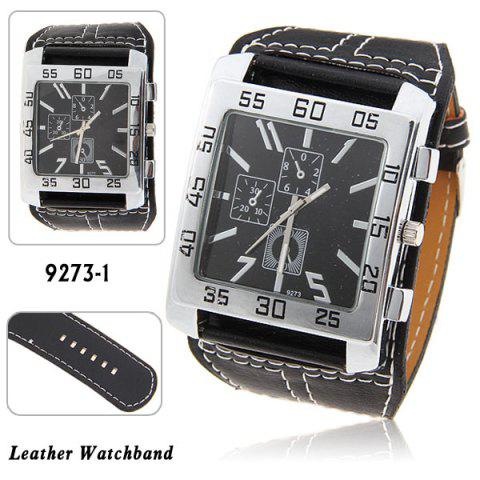 Fashion Nice Men's Quartz Wrist Watch with Water Resistant Square Shaped Dial 30mm Wide Brown Leather Band BLACK