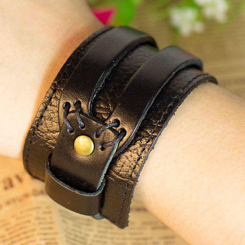 Outfit Stylish Leather Belt Flat Bracelet Hand Chain Wrist Ornament -   Mobile