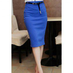 Women's Pencil Skirt With Solid Color and Knee-Length Design -